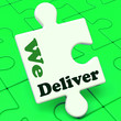 We Deliver Puzzle Showing Delivery Shipping Service Or Logistics
