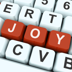 Joy Key Shows Fun Or Happiness.