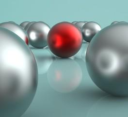 Standing Out Metallic Balls Showing Leadership