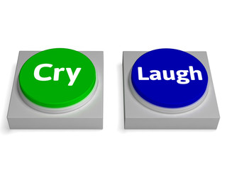 Cry Laugh Buttons Shows Crying Or Laughing