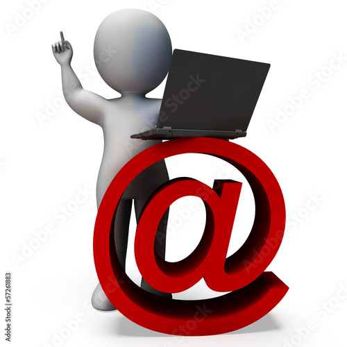 Email Sign And Laptop Shows Correspondence