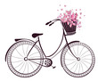 Bicycle with a basket full of flowers and butterflies - 57262006