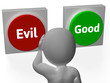 canvas print picture - Evil Good Buttons Show Morals Or Mischief