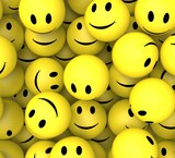 Smileys Showing Happy Cheerful Faces