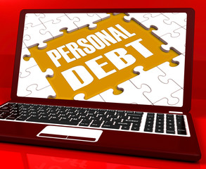 Personal Debt Laptop Shows Poverty Mortgage And Loans