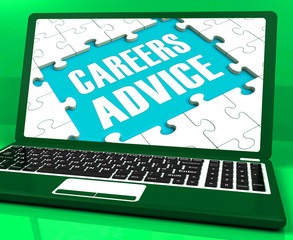Careers Advice Laptop Shows Employment Guidance And Assistance