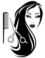 girl with black long hair and scissors and comb