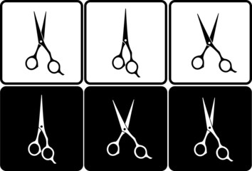 set of isolated black and white scissors