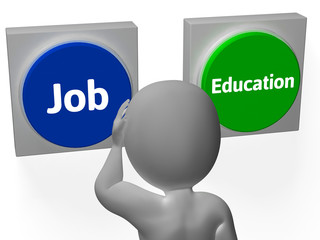 Job Education Buttons Show Employment Or College Choice