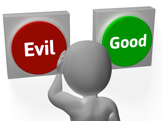 Evil Good Buttons Show Morals Or Mischief