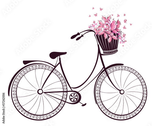 Bicycle with a basket full of flowers and butterflies © Mari79