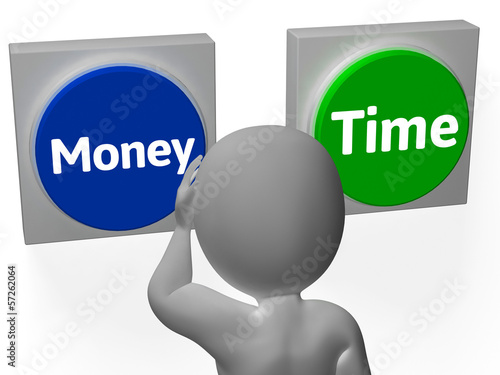 Money Time Buttons Show Prosperity Or Income