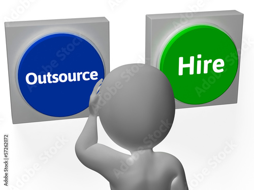 Outsource Hire Buttons Show Subcontracting Or Freelancing