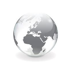 White gray vector world globe - europe