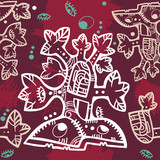 Seamless background with decorative Aztec tree