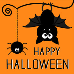 Cute bat and hanging spider. Happy Halloween card.