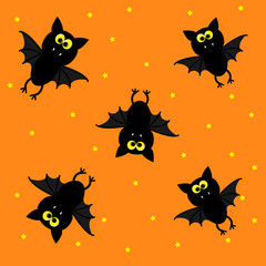 Cute bats on orange background. Happy Halloween pattern.