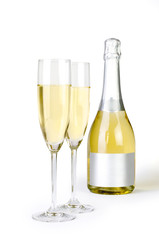 Champagne bottle and pair of flutes with clipping path