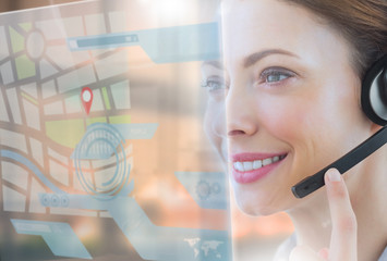 Happy call center employee looking at futuristic interface holog