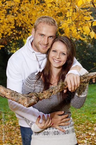 happy young couple embracing