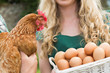 Young couple holding chicken and basket of eggs