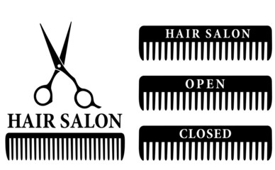 open and closed hair salon sign with scissors and comb