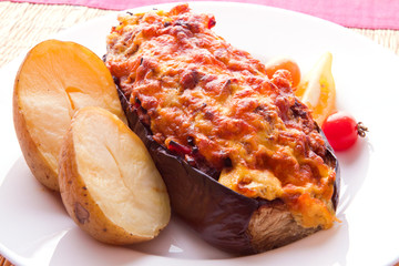 Aubergine stuffed with minced meat.
