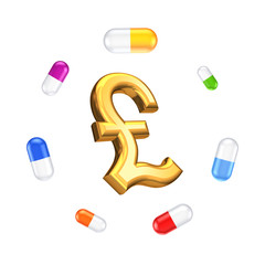Colorful pills around sign of pound sterling.