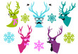 Christmas deer heads, vector set