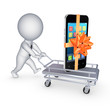 Mobile phone on a pushcart.