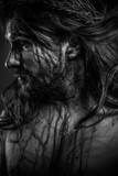Jesus Christ calvary, man bleeding, representation of passion wi
