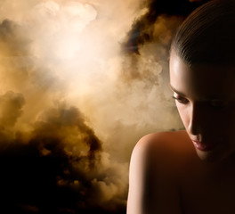 Beautiful Girl Portrait. Mistery Woman