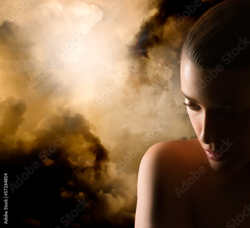 Beautiful Girl Portrait. Mistery Woman