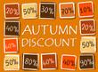 autumn discount and percentages in squares - retro orange label