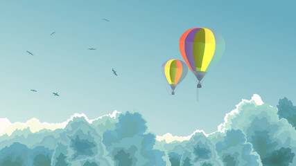 Two air balloons in the sky with clouds.
