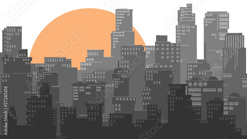 Abstract illustration of big city and sun.