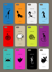 Mobile phone cover back , 12 funny animals for your design
