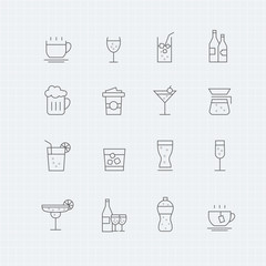 Beverage vector thin line symbol icon