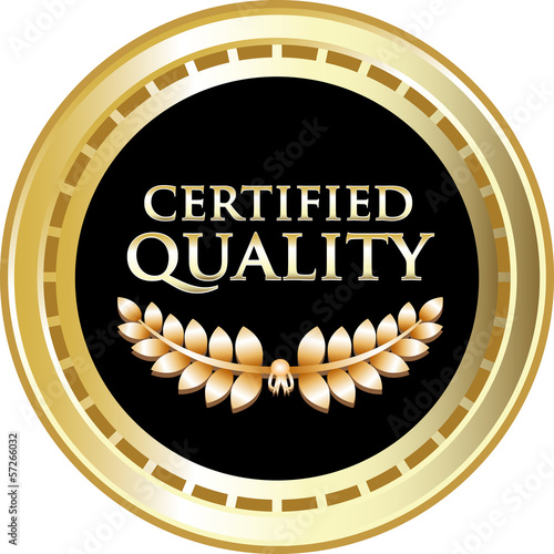 Certified Quality Black Vintage Label