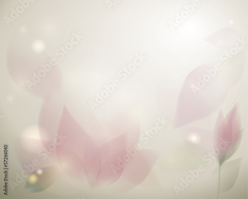 Rosy floral leafs / Dreamy spring background