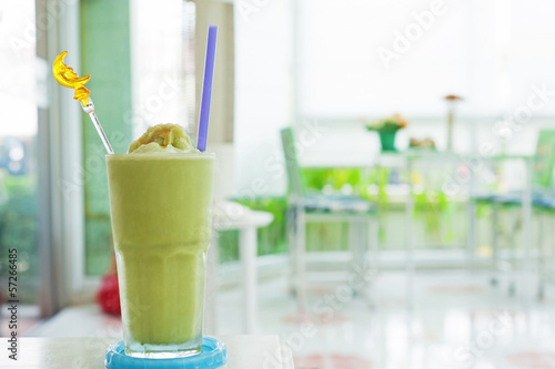 Green tea smoothie in relax room .