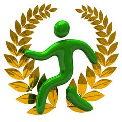 Golden laurel wreath and green man