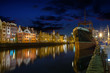Night view - Motlawa river and Old Town in Gdansk, Poland.