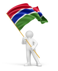 Man and Gambia flag (clipping path included)