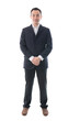 Full body portrait of happy asian business man. Isolated on whit