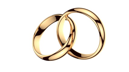 Two golden rings on white background with alpha matte