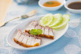 chinese roast pork belly with sauce
