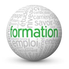 """Globe - Nuage de Tags """"FORMATION"""" (études travail continue cv)"""