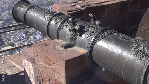 historical ornate cannon in Rajasthan blue city Jodhpur fort