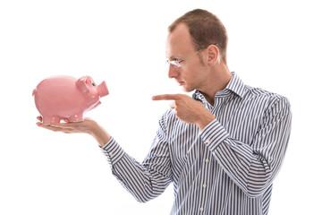 Altersvorsorge - Mann und Sparschwein isoliert - Konzept Sparen